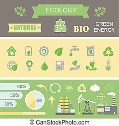 Green energy and ecology Infographic set  elements.