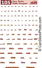 Vector cars, trucks and public transport icons - Set of the...