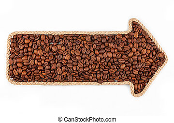Arrow made of rope with coffee beans, on a white background