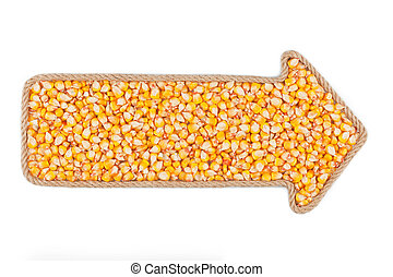 Arrow made of rope with corn, on a white background