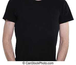 Black Tshirt - Torso of slim caucasian man wearing a plain...