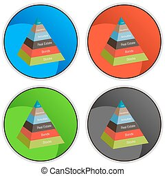 3d Investment Pyramid Button