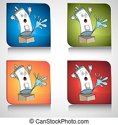 Broken Water Heater Button - An image of a broken water...