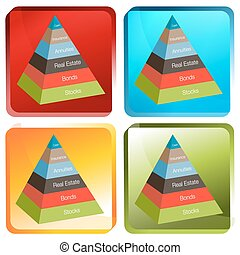3d Investment Pyramid Button - An image of a 3d investment...