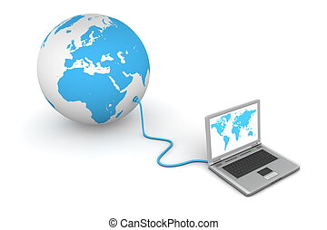 Connected to the World - laptop wired to a blue 3D globe