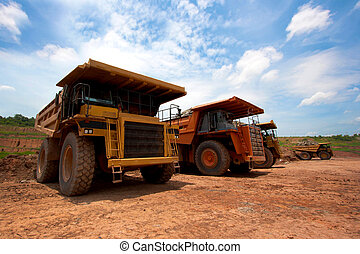 big yellow mining truck at work site
