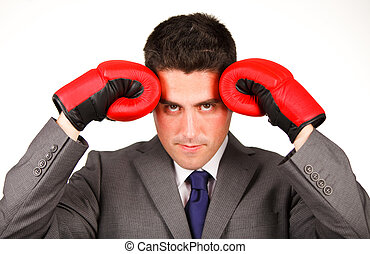 Stressed businessman with boxing gloves