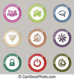 Colorful 3d button set