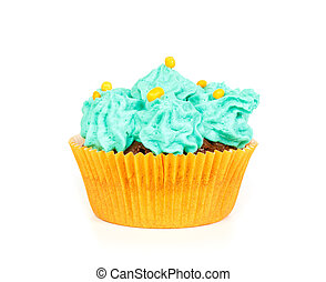 Cupcake with blue cream frosting - Cupcake with blue...