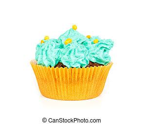 Cupcake, con, azul, crema, Capa de azúcar glaseado,