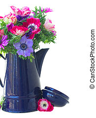 bouquet of anemone flowers - fresh anemone flowers in blue...