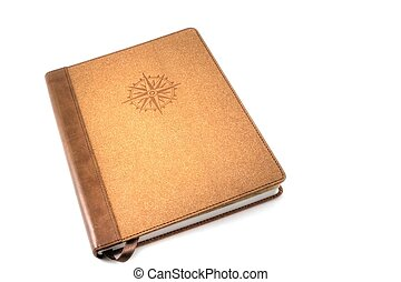 Travel Journal - A brown travel journal imprinted with a...