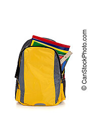 Yellow backpack with school supplies