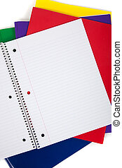 school folders with a blank notebook on a white background -...