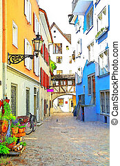 quaint town in Austria - Quaint city street in Austrian town...