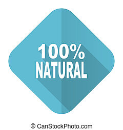 natural flat icon 100 percent natural sign