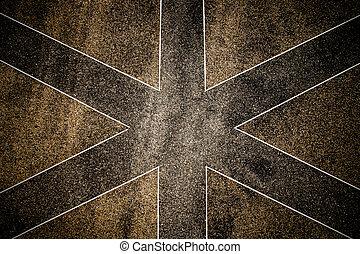 Terrazzo floor in a criss-cross pattern.