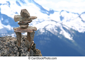 Inukshuk on top of Whistler mountain. Symbol of the 2010...