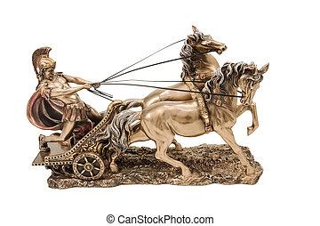 Greek warrior on chariot - Bronze statuette of the Roman war...