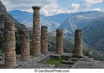 Oracle of Delphi in Greece - Temple of Apollo at Delphi...