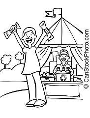 recycling center line art cartoon illustration image.