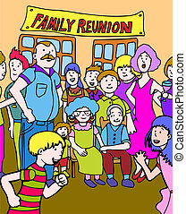 family reunion cartoon hand drawn illustration image.