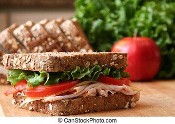 Lunch - Healthy sandwhich made with whole grain bread,...