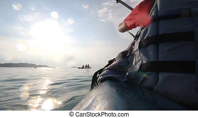 canoeing, kayaking in the lake