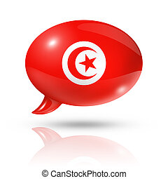 Tunisian flag speech bubble - three dimensional Tunisia flag...