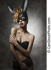 girl in erotic easter portrait - Erotic curly female with...