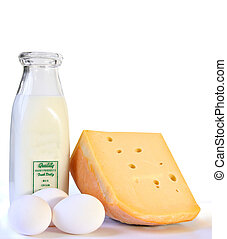 Dairy products - Milk, cheese and eggs, isolated on white