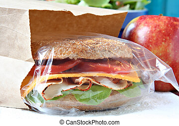 Healthy homemade lunch. - Whole grain sandwich in a lunch...