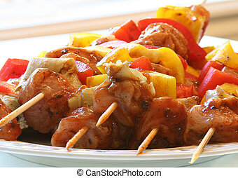Chicken and vegetable kabobs - Marinated chicken and...