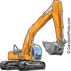 Excavator - Heavy tracked orange excavator isolated on white...