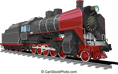 old steam locomotive - illustration of a old steam...