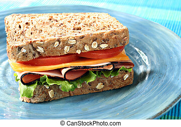 Sandwhich - Ham and cheese sandwich made with whole grain...