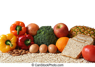 Healthy eating - variety of fresh healthy foods, fruits,...