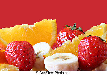Fruit close-up - Strawberry, orange and banana.