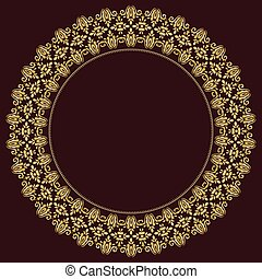 Floral Modern Vector Frame - Oriental vector abstract round...