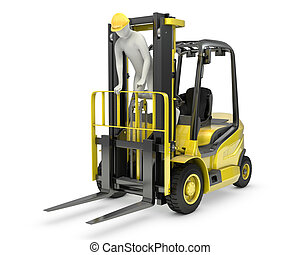 Worker stands on a mast of forklift, violating safety norms, isolated