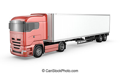 Red truck with white blank semi-tra