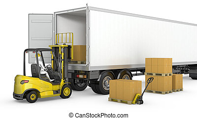 Forklift unloads or loads white blank semi-trailer isolated