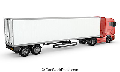 Red truck with white blank semi-trailer isolated