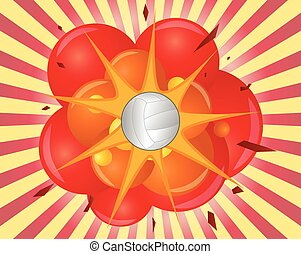 boom volley - illustration of an volley ball with explosion