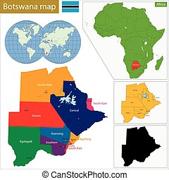 Botswana map - Administrative division of the Federal...