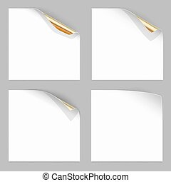 Gold Curled Corner of Paper Sheets. Stock Vector...