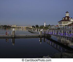 Early Morning Long Beach - Long Beach California in the...