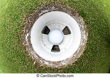 Golf Ball in the hole - A view of a golf ball in the cup...