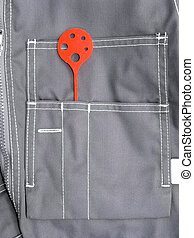 Pocket work wear with a measuring tool
