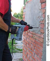 trabajando, macho, martillo neumático, destruir, el,...